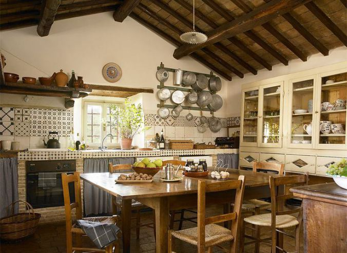 The kitchen in Claudia & Francesco Bachetoni's farmhouse near Spoleto in the Umbria region of Italy.