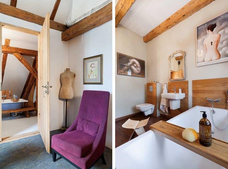 Fabrika de Case - Cada, in stil vintage, este sustinuta de un suport din lemn, realizat pe comanda
