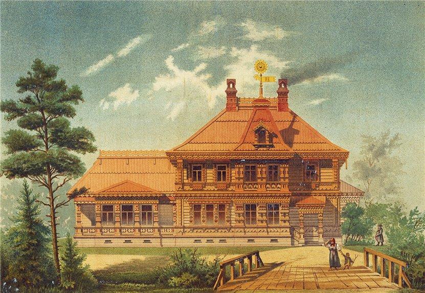 Fabrika de Case - Casa din lemn in Rusia, ilustratie carte postala