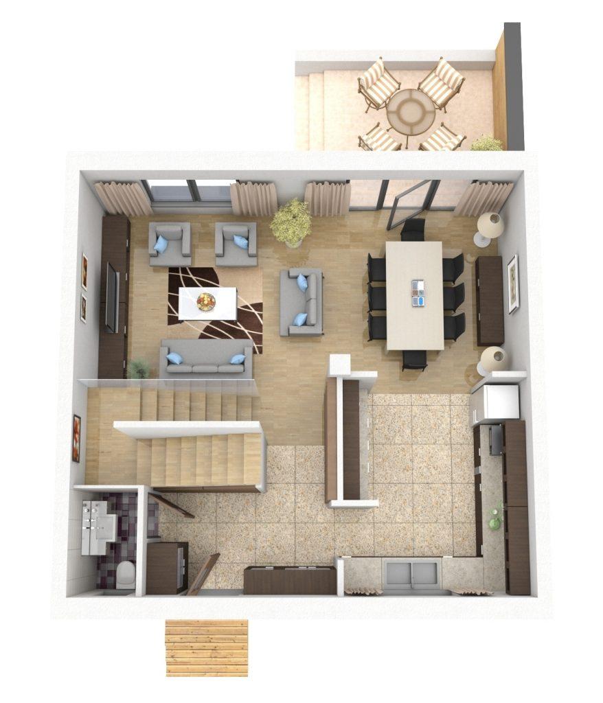 Fabrika de Case - Locuintele dispun de un living generos, bucatarie si trei dormitoare