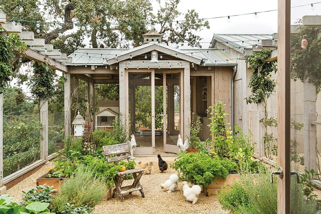 Box planter garden with various vegetables in front of large built-in chiecken coop.