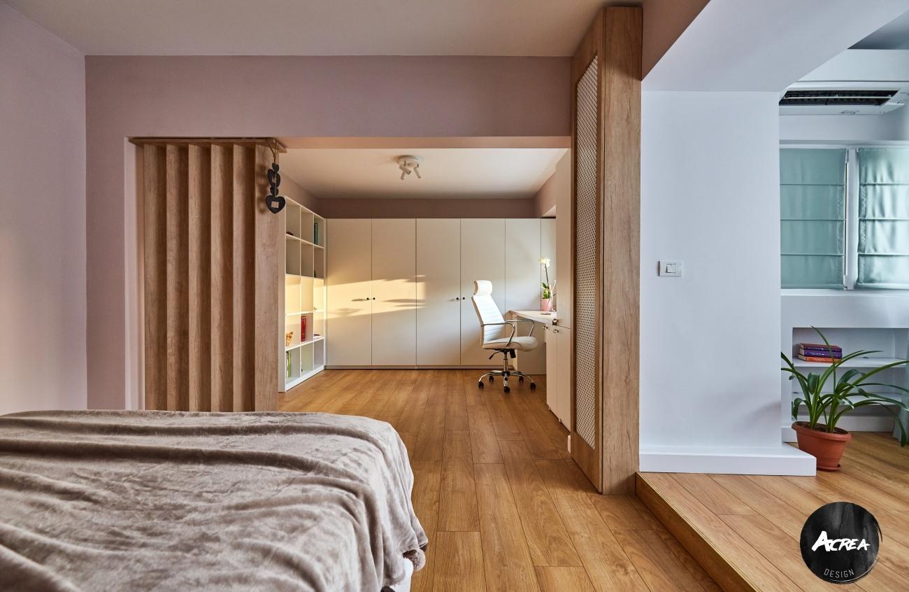 dormitor spatios adolescenta, apartament modernizat în București