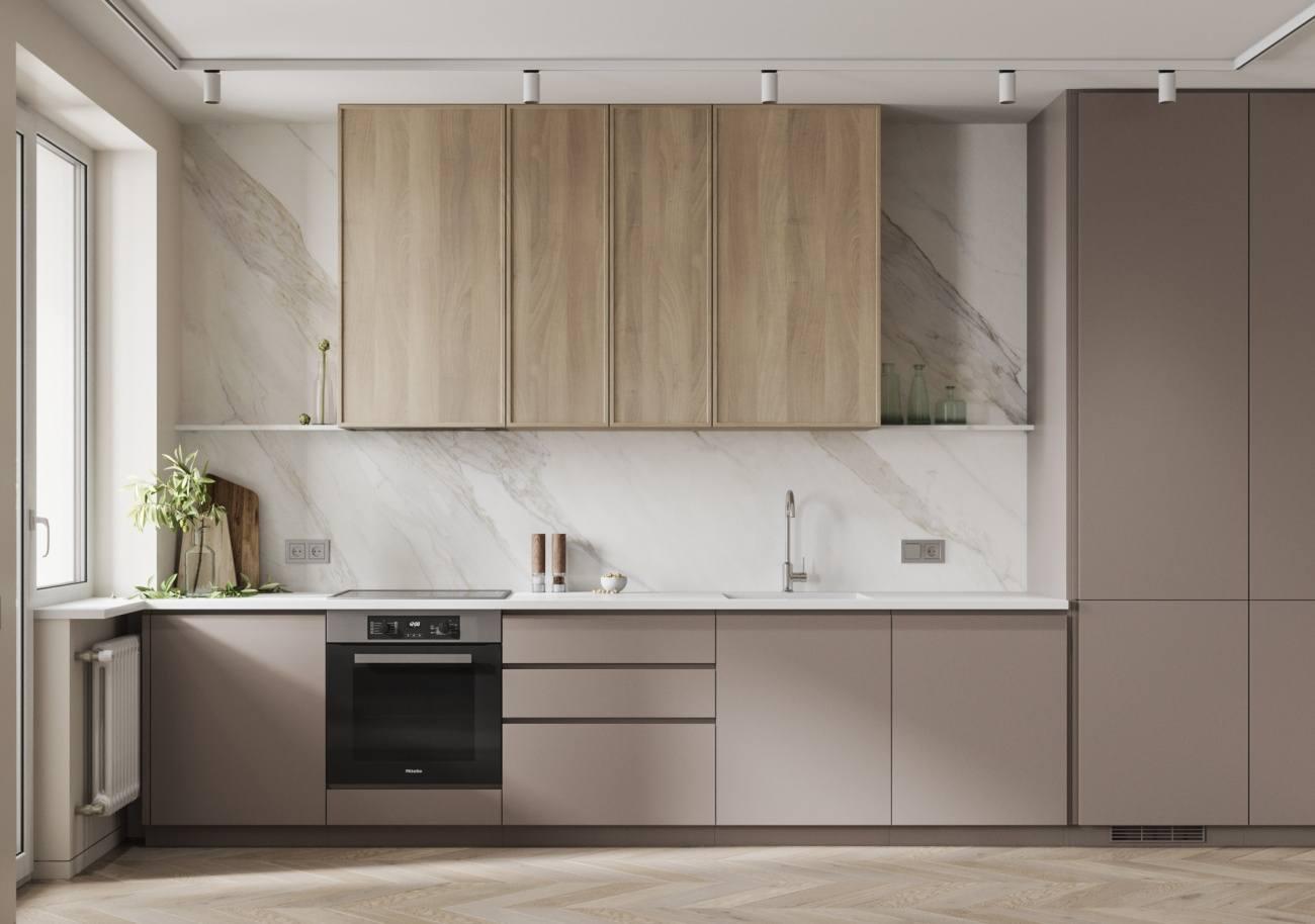 placarea pereților din bucătărie cu marmură
