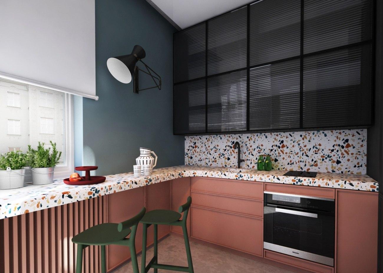 placarea pereților din bucătărie cu terrazzo