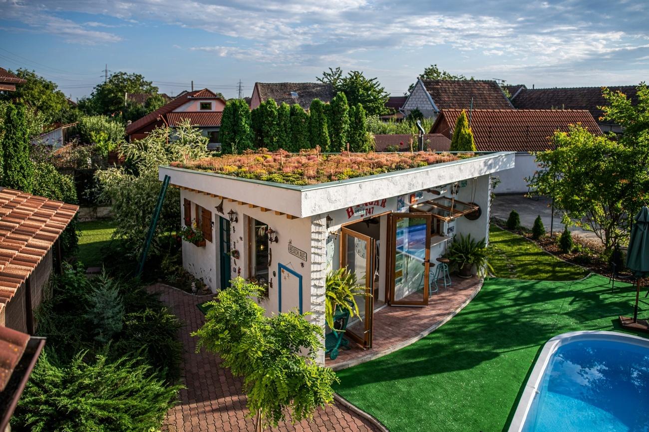 acoperiș verde bucătărie de vară