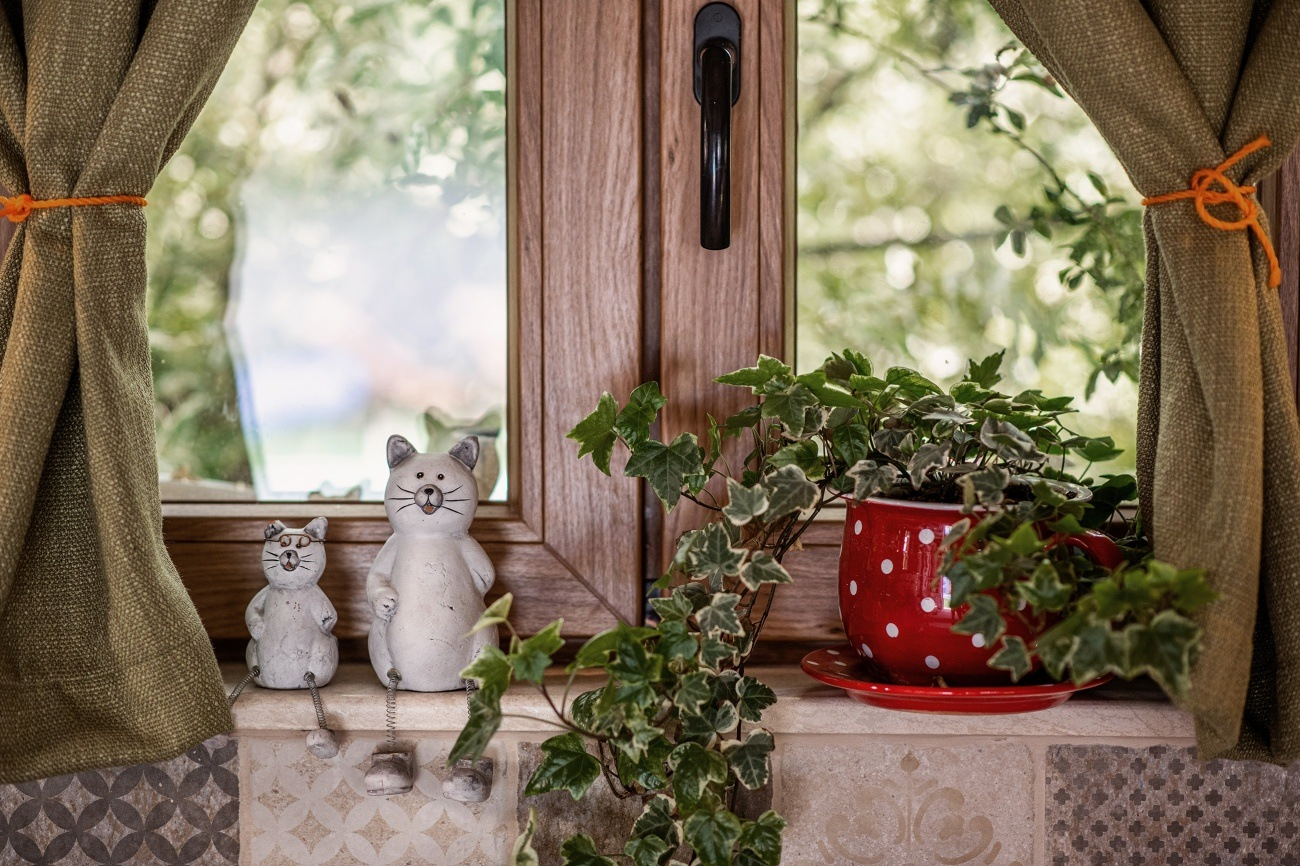 bucătărie de vară, ghivece flori